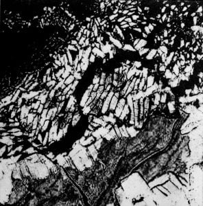 Ice Flows - Intaglio print, edition of 10. 2016 (12 x 12 cm)